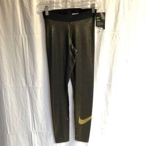 NWT Nike Pro Metallic Gold Leggings M